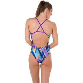 speedo Fizzbounce Single Crossback Swimsuit Women Violet/Limepunch/Turquoise